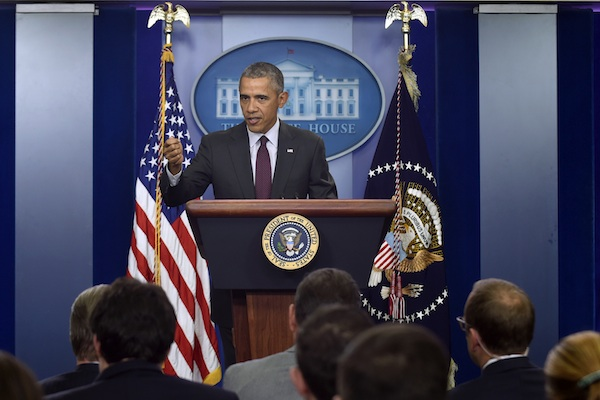 President Barack Obama speaks in the Brady Press Briefing Room at the White House in Washington, Thursday, Oct. 1, 2015, about the shooting at the community college in Oregon. The shooting happened at Umpqua Community College in Roseburg, Ore., about 180 miles south of Portland. (AP Photo/Susan Walsh)