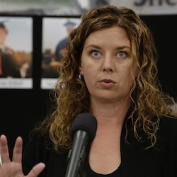 Vanessa Becker, chairwoman of the Umpqua Community College Board of Trustees, speaks during a news conference, Saturday, Oct. 3, 2015, in Roseburg, Ore., where she announced that classes would not resume at the school until Oct. 12. The school has been closed since Thursday when a gunman walked into a classroom and killed nine people and wounded several others before taking his own life. (AP Photo/Rich Pedroncelli)