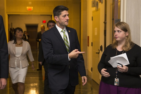 Rep. Paul Ryan, R- Wis., arrives for a meeting on Capitol Hill in Washington, Thursday, Oct. 8, 2015, where Republicans were to nominate candidates to replace outgoing House Speaker John Boehner. After two tumultuous weeks that saw the current speaker announce his resignation and his heir apparent abruptly pull out of the running, House Republicans are in disarray as they confront a leadership vacuum. (AP Photo/Evan Vucci)