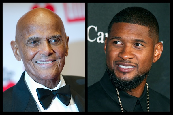 Harry Belafonte, left, and Usher. During an hour-long conversation moderated by Soledad O'Brien, on Friday, Oct. 23, 2015, in New York, the 37-year-old Usher and 88-year-old Belafonte related with obvious warmth to each other as fellow artists, as activists and celebrities and as elder statesman and protege. (AP Photo)