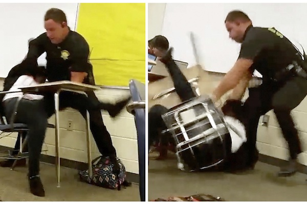 Photo shows image from a video taken by Spring Valley High School student showing Senior Deputy Ben Fields trying to forcibly remove a student from her chair after she refused to leave her high school math class, in Columbia S.C. Black men are not alone when it comes to difficult relations with the police. Black women are having a tough time too. From the schoolgirl getting slammed to the ground in a South Carolina classroom to the mysterious death of Sandra Bland inside a Texas jail cell, videos showing black women being manhandled by police are bringing their problems to the forefront at a time when Americans' attention has been focused primarily on the relationship between black men and law enforcement. (AP)