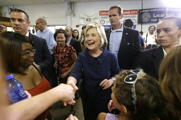 Democratic presidential candidate Hillary Rodham Clinton greets supporters during the Annual Hawkeye Labor Council AFL-CIO Labor Day picnic, Monday, Sept. 7, 2015, in Cedar Rapids, Iowa. (AP Photo/Charlie Neibergall)