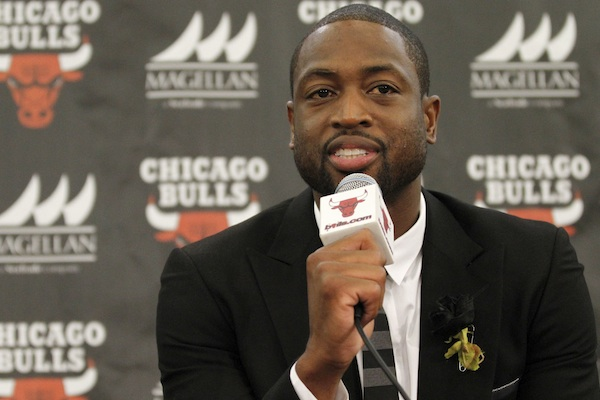 Chicago Bulls player Dwyane Wade speaks during a news conference in Chicago, July 29,2016. A family spokesman says a cousin of Wade's was fatally shot Friday, Aug. 25, while pushing a baby in a stroller on the city's South Side. Wade posted on Twitter: