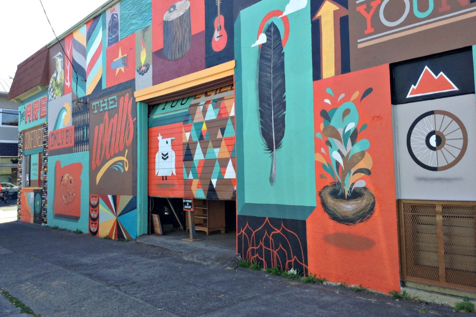 A mural decorates the side of a building on Alberta Street in Northeast Portland.
