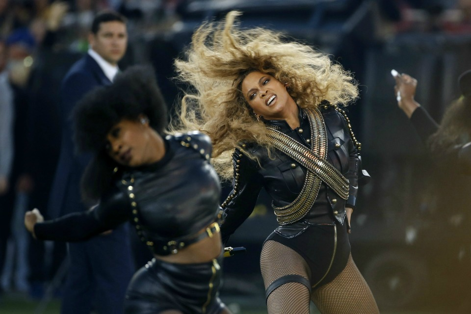 Beyonce performs during halftime of the NFL Super Bowl 50 football game in Santa Clara, Calif.
