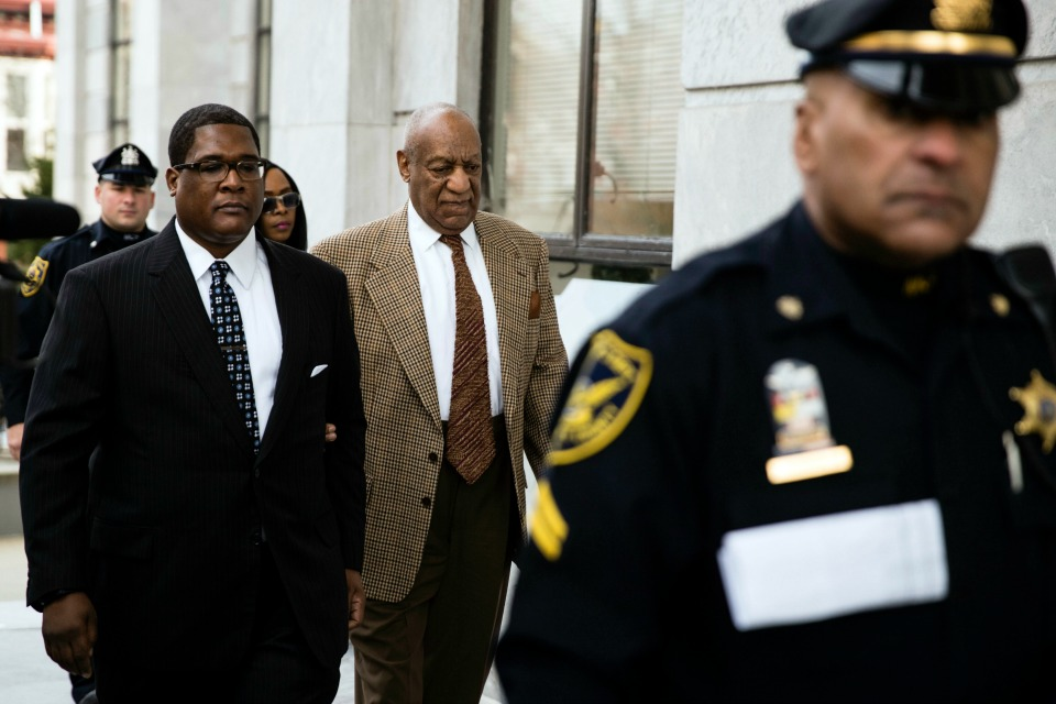 Bill Cosby arrives for a pretrial hearing in his sexual assault case at the Montgomery County Courthouse in Norristown, Pa.