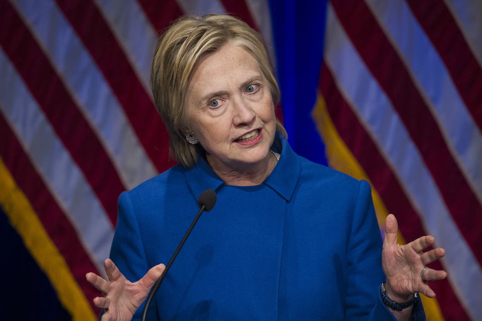 Hillary Clinton speaks in Washington, Nov. 16, 2016. Clinton says Russian interference had a bearing on her defeat in the presidential race, citing a long-running effort by Russian President Vladimir Putin to discredit America and its government. (AP Photo/Cliff Owen, File)