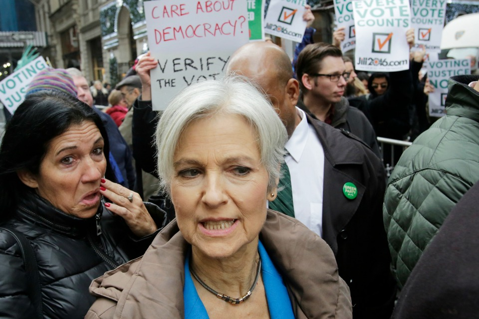 Jill Stein, the presidential Green Party candidate, arrives for a news conference.