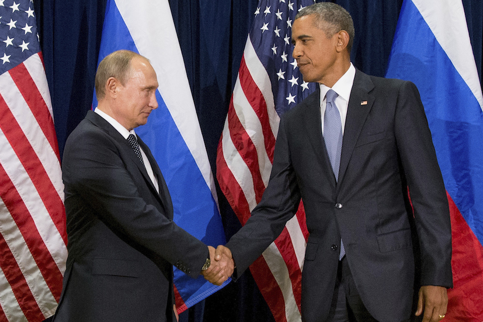 President Barack Obama shakes hands with Russian President President Vladimir Putin before a bilateral meeting at United Nations headquarters, Sept. 28, 2015.. Obama has ordered intelligence officials to conduct a broad review on the election-season hacking that rattled the presidential campaign and raised new concerns about foreign meddling in U.S. elections, a White House official said Friday. White House counterterrorism and Homeland Security adviser Lisa Monaco said Obama ordered officials to report on the hacking of Democratic officials' email accounts and Russia's involvement. (AP Photo/Andrew Harnik, File)