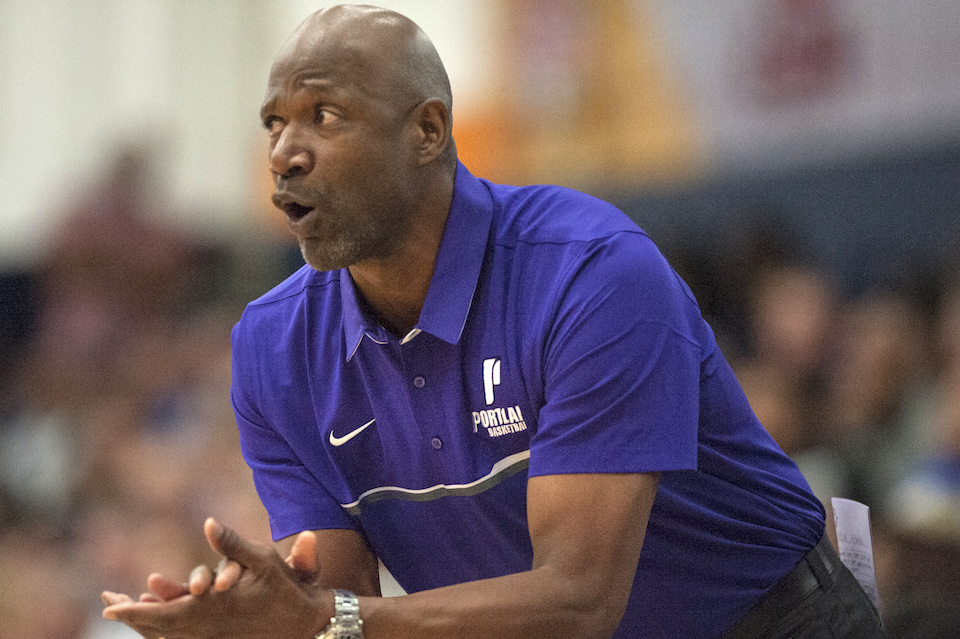 Nov. 24, 2016, file photo, University of Portland coach Terry Porter reacts during the team's NCAA college basketball game against UCLA in Fullerton, Calif. Porter is in his first season at coach of the Pilots after some 17 seasons as a player in the NBA, then another 12 as a coach in the league. (Ed Crisostomo/The Orange County Register via AP, File)