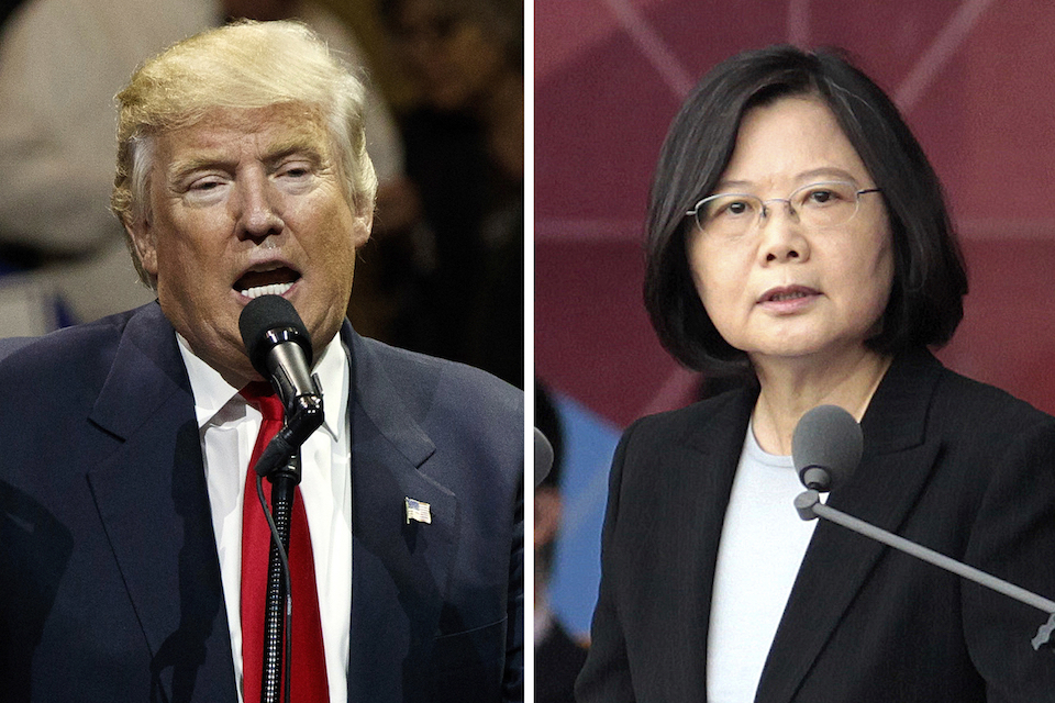 "U.S. President-elect Donald Trump, left, speaking during a ""USA Thank You"" tour event in Cincinatti Thursday, Dec. 1, 2016, and Taiwan's President Tsai Ing-wen, delivering a speech during National Day celebrations in Taipei, Taiwan, Monday, Oct. 10, 2016. Trump spoke Friday, Dec. 2, with Tsai, a move that will be sure to anger China. (AP Photo/Evan Vucci, Chinag Ying-ying, File)"