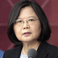 Taiwan's President Tsai Ing-wen, delivering a speech during National Day celebrations in Taipei, Taiwan, Monday, Oct. 10, 2016. President-elect Trump spoke Friday, Dec. 2, with Tsai, a move that will be sure to anger China. (AP Photo/Evan Vucci, Chinag Ying-ying, File)