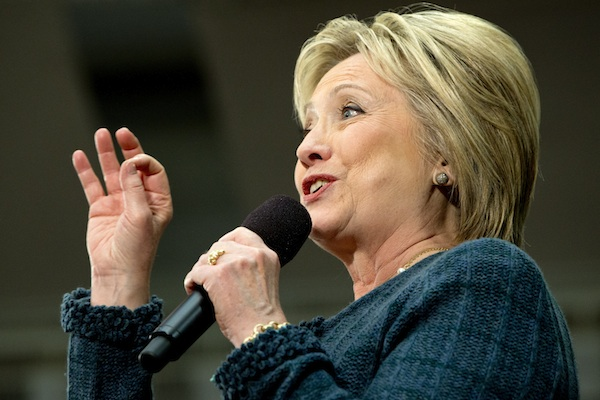 "Democratic presidential candidate Hillary Clinton speaks at a ""Get Out the Vote"" event at Rundlett Middle School, in Concord, N.H., Saturday Feb. 6, 2016. (AP Photo/Jacquelyn Martin)"