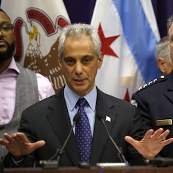 Chicago Mayor Rahm Emanuel, left, and Police Superintendent Garry McCarthy appear at a news conference in Chicago, announcing first-degree murder charges against police officer Jason Van Dyke in the death of Laquan McDonald. Emanuel's promise announced Tuesday, 16, 2016, to release videos of police shootings in no more than three months was intended to bring more transparency to Chicago, which took more than a year to make public the footage of McDonald's death and did so only after being ordered by a judge. (AP Photo/Charles Rex Arbogast, File)