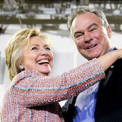 Democratic presidential candidate Hillary Clinton, accompanied by Sen. Tim Kaine, D-Va., speaks at a rally at Northern Virginia Community College in Annandale, Va., July 14, 2016. Clinton has chosen Kaine to be her running mate (AP Photo/Andrew Harnik)