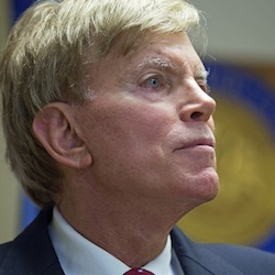 Former Ku Klux Klan leader David Duke talks to the media at the Louisiana Secretary of State's office in Baton Rouge, La., on Friday, July 22, 2016, after registering to run for the U.S. Senate, saying