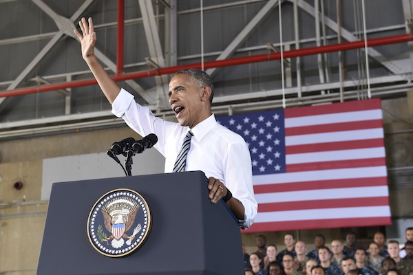US President Barack Obama speaks to troops during a visit to Naval Station Rota in Cadiz, Spain, Sunday, July 10, 2016. Obama made a brief visit to Madrid and Naval Station Rota before heading back to Washington following the NATO Summit in Warsaw, Poland. (AP Photo/Susan Walsh)