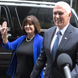 Indiana Gov. Mike Pence and his wife Karen arrive to meet with Republican presidential candidate Donald Trump at Trump Tower in New York, Friday, July 15, 2016. Trump has chosen Indiana Pence as his running mate, adding political experience and conservative bona fides to his Republican presidential ticket. (AP Photo/Evan Vucci)