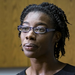 Breaion King, who was violently thrown to the ground by a white Austin, Texas, police officer during a traffic stop in 2015, speaks at a news conference Friday, July 22, 2016, in Austin, Texas. King said Friday she feels the U.S. must come together after newly released patrol car video of her 2015 arrest again raised nationwide tension over police treatment of black people. (Rodolfo Gonzalez/Austin American-Statesman via AP)