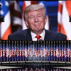 Republican presidential candidate Donald Trump addresses delegates during the final day session of the Republican National Convention in Cleveland, Thursday, July 21, 2016. (AP Photo/Patrick Semansky)