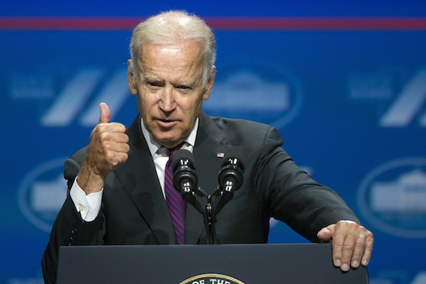 Vice President Joe Biden addressing the White House Summit on the United State of Women in Washington June 14, 2016. Warning of a potential surge in anti-Americanism, Biden is tearing into Donald Trump's views on foreign policy and urging the country not to follow the presumptive Republican nominee down a path of isolationism and bigotry. Biden plans to deliver a point-by-point rebuttal of Trump's ideas on immigration, terrorism and relations with Russia during a speech Monday, June 20, 2016, to the Center for New American Security. (AP Photo/Cliff Owen)