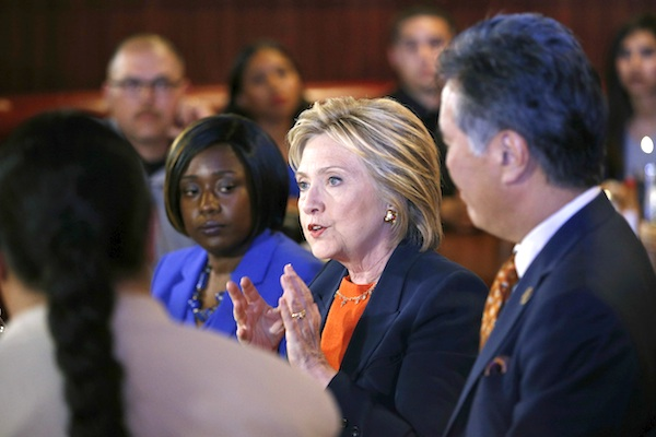 Democratic presidential candidate Hillary Clinton speaks at a roundtable event at a restaurant, Thursday, June 2, 2016, in Perris, Calif. (AP Photo/John Locher)