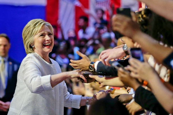 Democratic presidential nominee Hillary Clinton greets delegates during the final day of the Democratic National Convention in Philadelphia, July 28, 2016.