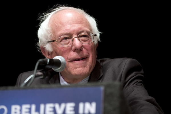 Democratic presidential candidate Sen. Bernie Sanders, I-Vt., delivers his