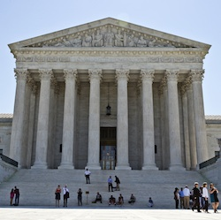 the Supreme Court is seen in Washington. The Supreme Court is set to close out its current term with opinions Monday in three remaining three cases after a flurry of decisions last week. It's expected to be the justices' final meeting before they disperse on their summer breaks. (AP Photo/Alex Brandon, File)