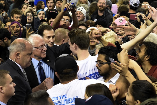 Democratic presidential candidate Bernie Sanders, I-Vt., greets attendees after a rally at the Moda Center in Portland, Ore., Friday, March 25 , 2016. (AP Photo/Steve Dykes)