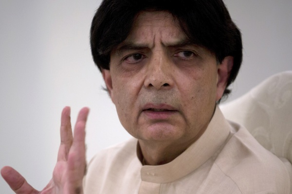 akistan's Interior Minister, Chaudhry Nisar Ali Khan addresses a news conference in Islamabad, Pakistan, Tuesday, May 24, 2016. Khan said authorities will perform DNA tests on the body of a man who was killed in an American drone strike to determine whether the slain man is actually Taliban chief Mullah Mohammed Akhtar Mansour. Khan also condemned the drone strike, calling it a violation of Pakistan's sovereignty. (AP Photo/B.K. Bangash)