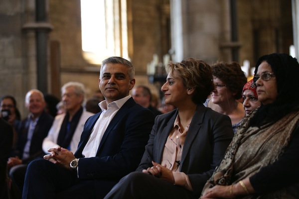 Mayor of London signing ceremony. Sadiq Khan with wife Saadiya in Southwark Cathedral for the signing ceremony for the newly elected Mayor of London. Yui Mok/PA via AP images