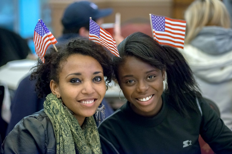 Students showed their patriotic spirit while watching the live presidential election results at the election night party. (Photo by Albert Herring, Wikimedia, CC BY 2.0)