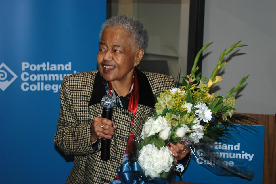 Lifelong education advocate Eveyln Crowell was celebrated at the open house for the new Center for African American Community History to open in the PCC Cascades Campus library.