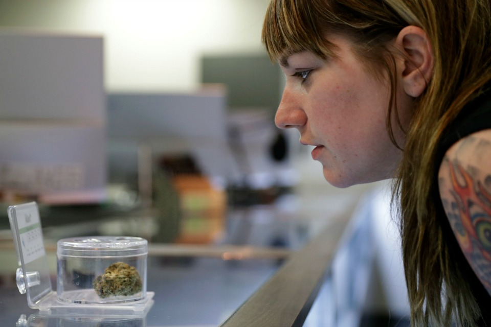 Rachael Torricelli looks at marijuana for sale at Blum in Las Vegas