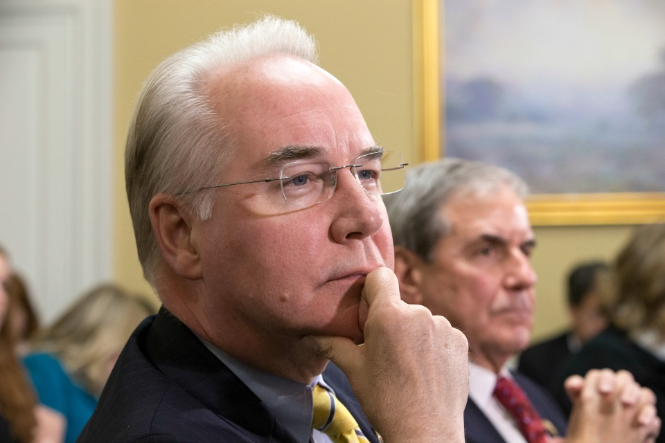 In this Jan. 5, 2016, file photo, Rep. Tom Price, R-Ga., chairman of the House Budget Committee appears before the Rules Committee, joined at right by Rep. John Yarmuth, D-Ky., on Capitol Hill in Washington. Republicans hope that as President-elect Donald Trump's choice to run the Department of Health and Human Services, Price will preside over the dismantlement of President Barack Obama's signature health care law. (AP Photo/J. Scott Applewhite, File)
