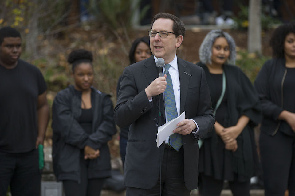 University of Oregon President Michael Schill speaks at a Black Lives Matter rally at the university in Eugene, Ore., Friday, Nov. 11, 2016. (Chris Pietsch/The Register-Guard via AP)