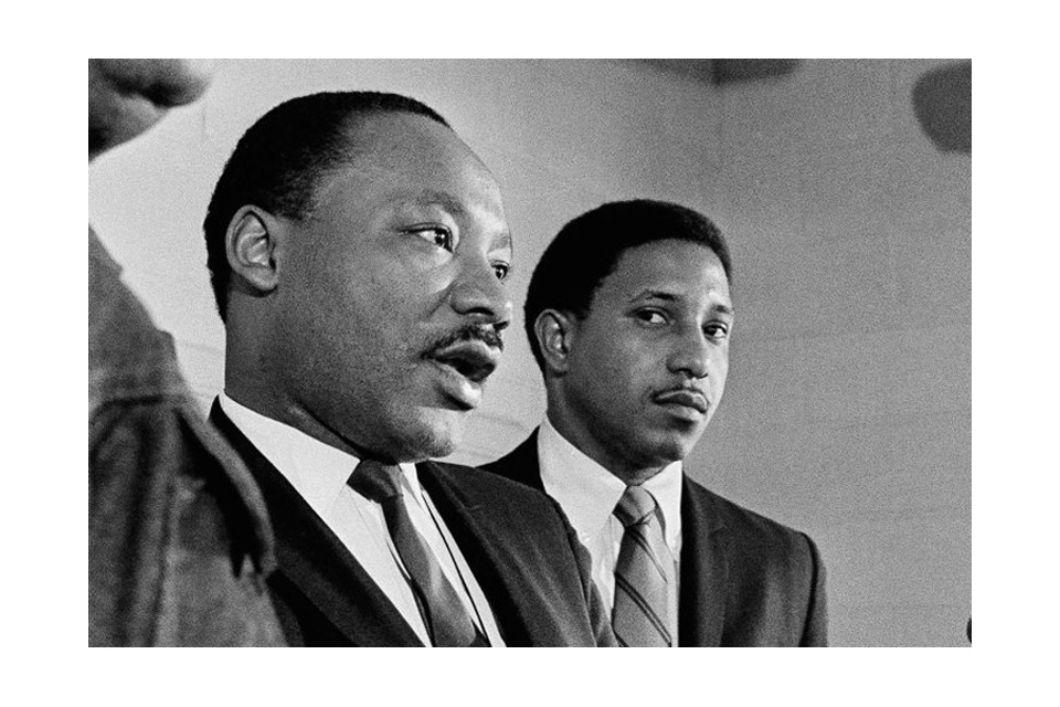 Bernard LaFayette Jr. stands with Martin Luther King Jr.