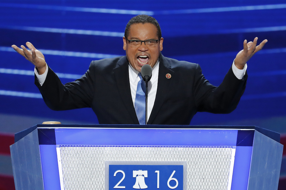 Rep. Keith Ellison, D-Minn., speaks during the first day of the Democratic National Convention in Philadelphia, July 25, 2016. Ellison, a prominent progressive and the first Muslim elected to Congress, has emerged as an early contender to become chair of the Democratic National Committee, backed by much of the party's liberal wing. (AP Photo/J. Scott Applewhite, File)