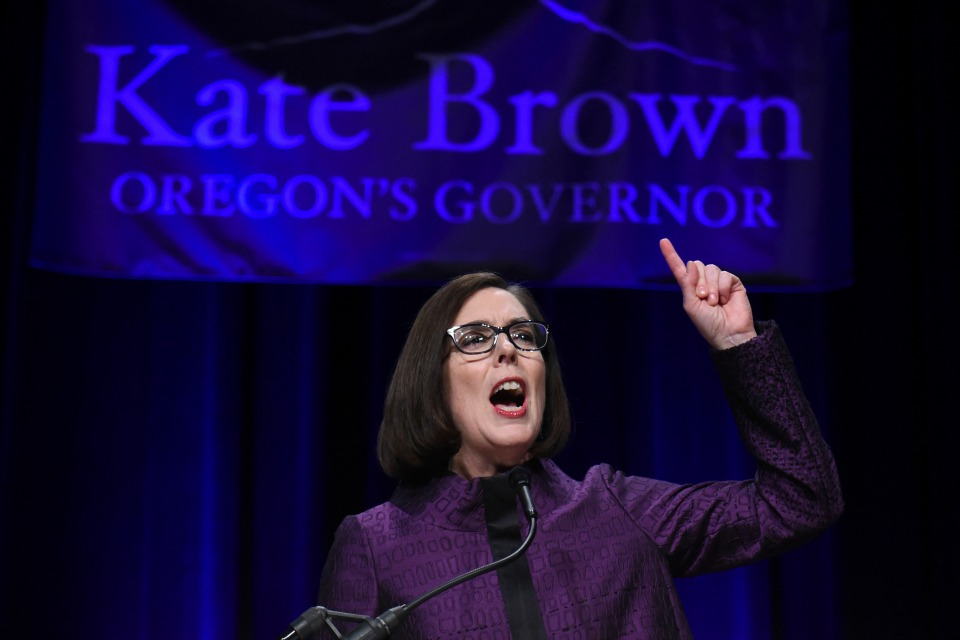 Oregon Gov. Kate Brown speaks to the crowd of supporters after being elected at the Oregon Convention Center in Portland, Ore., on Tuesday, Nov. 8, 2016. (AP Photo/Steve Dykes)