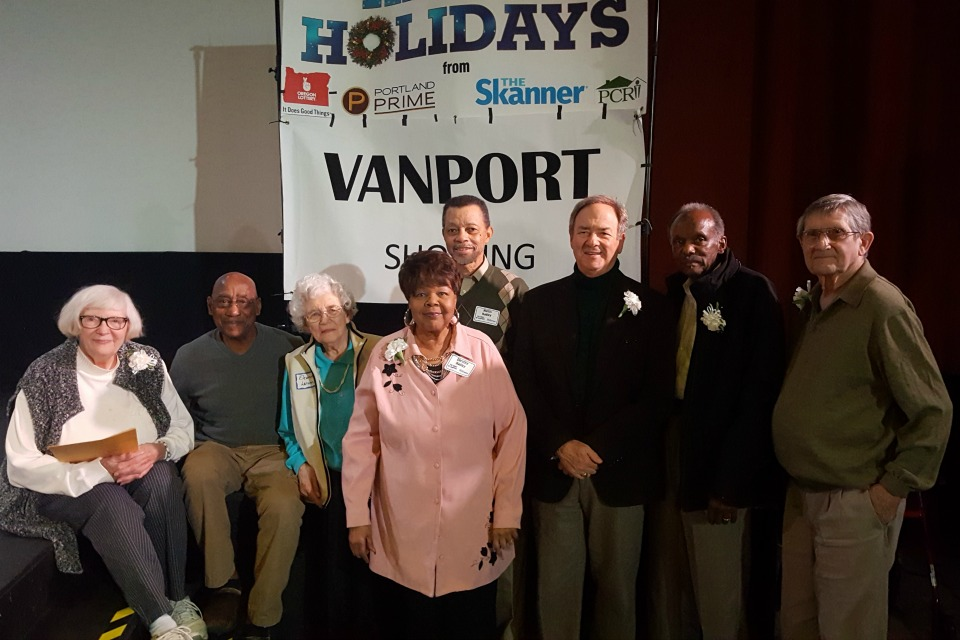 Vanport documentary storytellers Betty Duelen, Ed Washington, Eleanora Larson, Dorothy Hadley, Hurtis Hadley, Henry Kaiser, Curnel Walden and John Beverage at the Wake of Vanport screening at the historic Hollywood Theatre in Northeast Portland November 20, 2016.