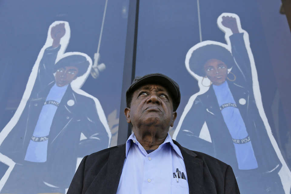 Bobby Seale, who co-founded the Black Panther Party, stands outside the Eastside Arts Alliance and Cultural Center in Oakland, Calif., Sept. 30, 2016. Hundreds of former Black Panthers from around the world are expected to gather in Oakland, Calif., for a four-day conference that started Thursday, Oct. 20, 2016. The Panthers emerged from the gritty city 50 years ago, declaring a new party dedicated to defending African-Americans against police brutality and protecting their rights. (AP Photo/Eric Risberg)