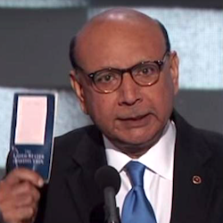 Khizr Khan with copy of US constitution