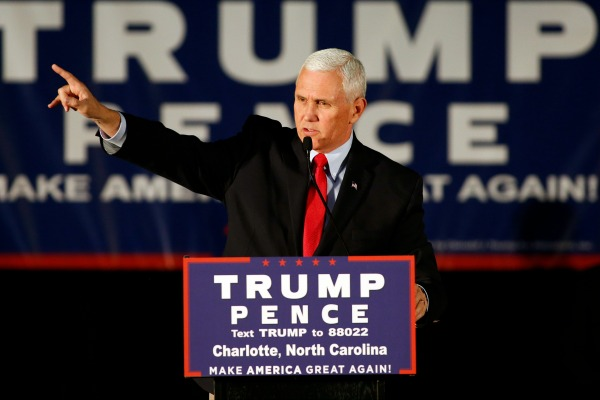 Republican vice presidential candidate Indiana Gov. Mike Pence speaks in Charlotte, N.C., Monday, Oct. 10, 2016 (AP Photo/Nell Redmond)