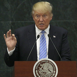 Republican presidential nominee Donald Trump speaks during a joint statement with Mexico's President Enrique Pena Nieto in Mexico City, Aug. 31, 2016. Trump's aggressive rhetoric on illegal immigration has obscured what may ultimately be a policy detour, the Republican presidential nominee is the first major party candidate in modern memory to propose limiting legal immigration. (AP Photo/Marco Ugarte, File)