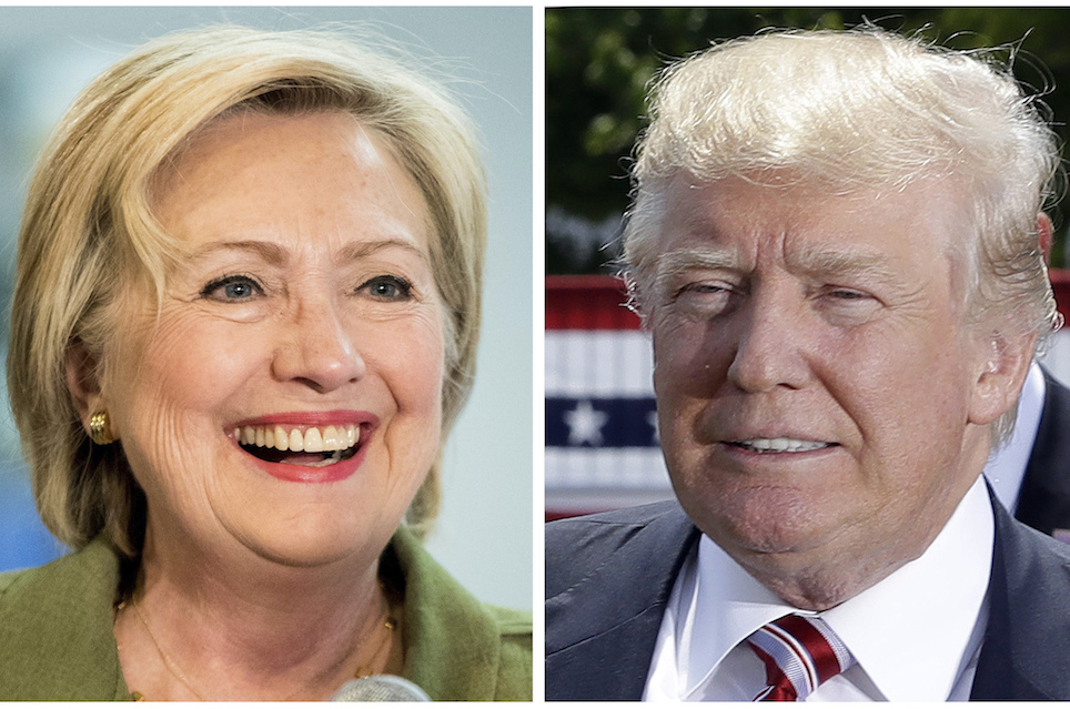 Democratic presidential candidate Hillary Clinton, left, and Republican presidential candidate Donal Trump in these 2016 file photos. Young people across racial and ethnic lines are more likely to say they trust Hillary Clinton than Donald Trump to handle instances of police violence against African-Americans. But young whites are more likely to say they trust Trump to handle violence committed against the police. (AP Photo)