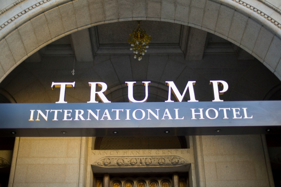 This Monday, Sept. 12, 2016, file photo, shows the exterior of the Trump International Hotel in downtown Washington. Republican presidential candidate Donald Trump has suggested that his presidential campaign will boost his hotel business and personal brand. But after a tumultuous run up to the election, including lewd statements about women and derogatory remarks about immigrants, there's some evidence that Trump's brand is being tarnished. (AP Photo/Pablo Martinez Monsivais, File)