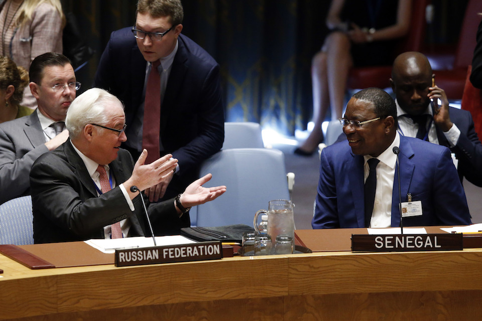 Russia's U.N. Ambassador Vitaly Churkin, left, talks to Senegal's Foreign Minister Mankeur Ndiaye before a meeting of the U.N. Security Council regarding nuclear non-proliferation and disarmament at U.N. headquarters, Friday, Sept. 23, 2016. (AP Photo/Jason DeCrow)