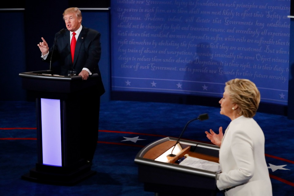 Republican presidential nominee Donald Trump debates with Democratic presidential nominee Hillary Clinton during the third presidential debate at UNLV in Las Vegas, Wednesday, Oct. 19, 2016. (Mark Ralston/Pool via AP)