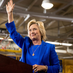 Democratic presidential candidate Hillary Clinton waves after speaking at a rally at Johnson C. Smith University in Charlotte, N.C., Thursday, Sept. 8, 2016. (AP Photo/Andrew Harnik)
